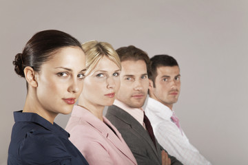 Businesswomen and businessmen in a row, portrait