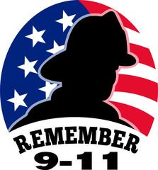 9-11 fireman firefighter american flag