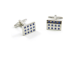 Silver and blue checkered cuff links