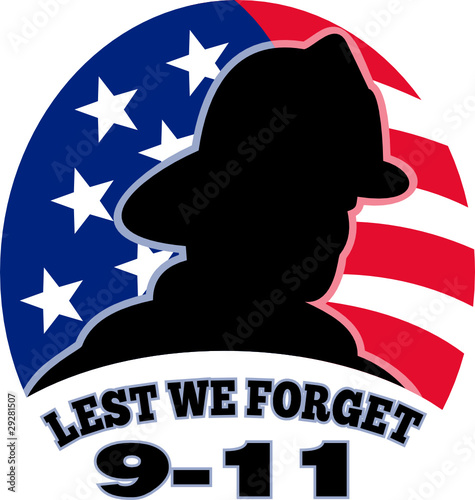 9-11 fireman firefighter american flag lest we forget