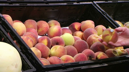 Woman Selecting Peaches In Produce