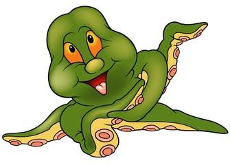 Green Cherful Octopus - colored cartoon illustration