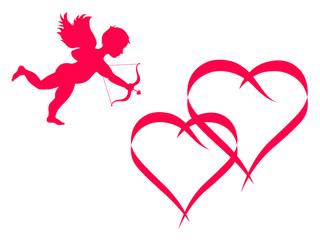 Cupidon et cœurs enlacés