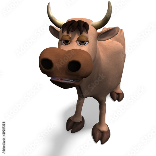 cute and funny cartoon bull. 3D rendering with clipping path