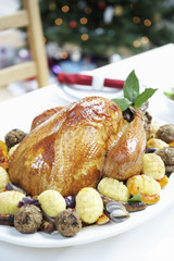 Christmas Turkey on table, close up