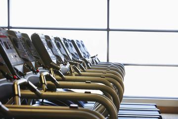 Row of Treadmills in health club