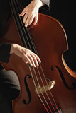 Man Playing Double Bass, close up of hands