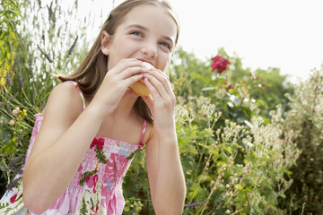 Young girl sitting in meadow eating cupcake, close up