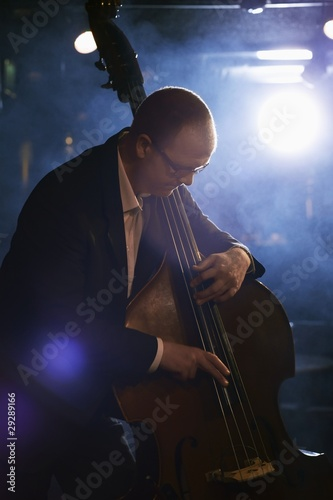 Double Bass Player in Jazz Club