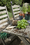Materials for Potting Plants on Picnic Table