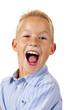 Hübscher Junge schreit begeistert laut auf