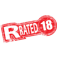 "Rubber stamp illustration showing ""R RATED"" text"