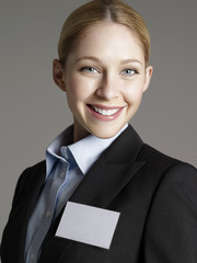 Portrait of cheerful young business woman