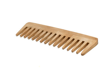 wooden comb on white