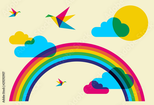 Deurstickers Geometrische dieren Colorful humming birds and rainbow