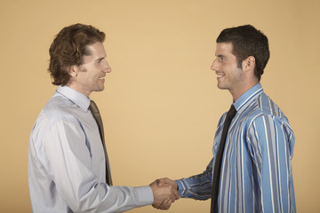 Businessmen shaking hands, on plain background