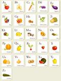 Fototapety Fruits and vegetables  alphabet cards , illustration