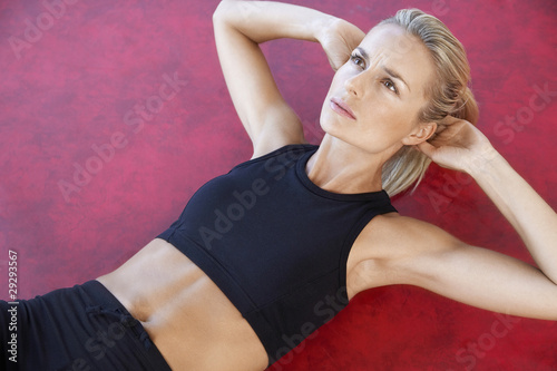 Woman Doing Sit-Ups, close up, high angle view