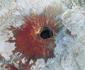 Hole in rock, view from above