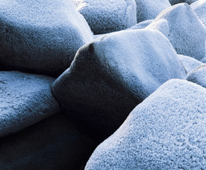 Frost on rocks, close-up