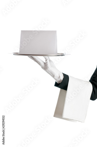 Waiter with blank sign