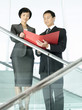 Business colleagues reviewing documents while standing on stairs