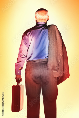 Sweaty Middle-Aged Businessman, carrying briefcase, back view