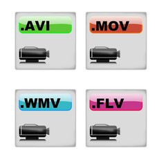video format icon set