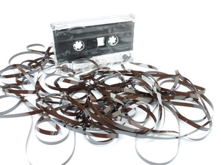 Unwound cassette tape