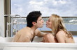 Couple enjoying bubble bath together