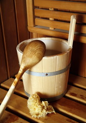 Wooden water bucket with spoon for sauna