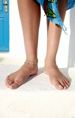 Closeup of legs with bare feet