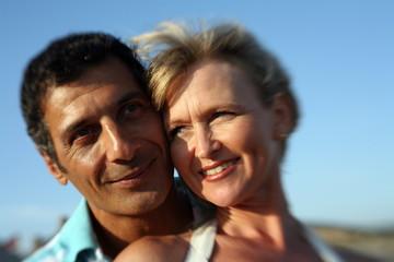 Mature adult couple closeup
