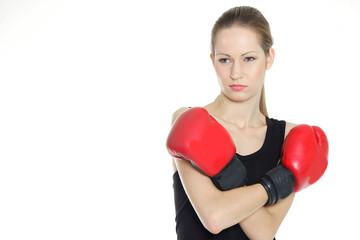 woman boxer over white