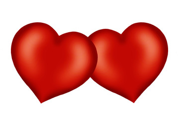 Two red valentine hearts
