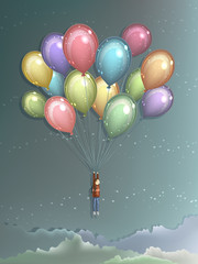 Man flying with colorful balloons
