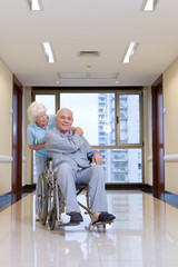 Elderly couple in a hospital