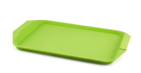 Empty green plastic tray