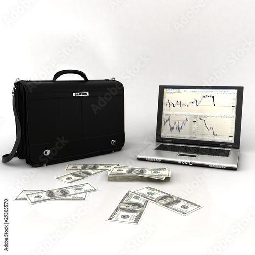 handbag with laptop and money