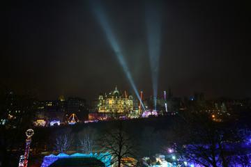 Edinburgh winter wonderland and street fair on a foggy night
