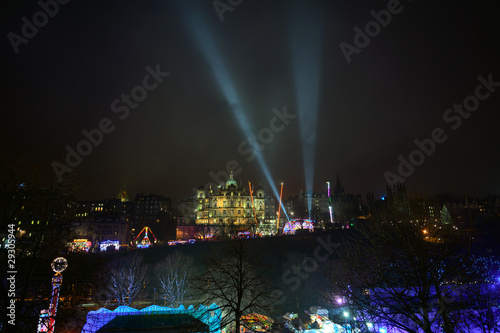 Edinburgh winter wonderland and street fair on a foggy night
