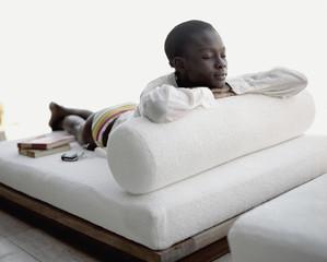 A woman relaxing