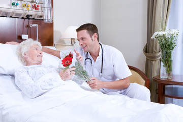 Doctor offering flowers