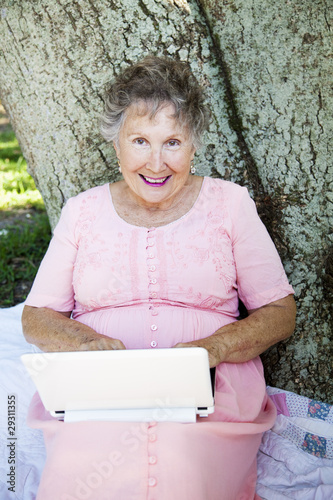 Senior Woman on Wireless Network