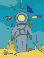 diver in diving suit, at the back of the sea
