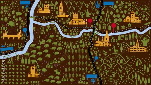 Foto op Plexiglas Op straat aerial view of a region with peoples castles rivers and trees