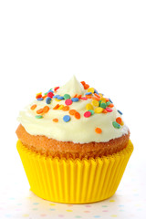 Closeup of cupcake on white isolated background
