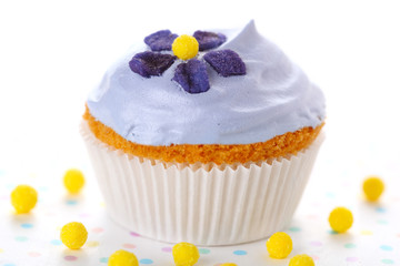 Closeup of cupcakes decorated with candied violets from flower o