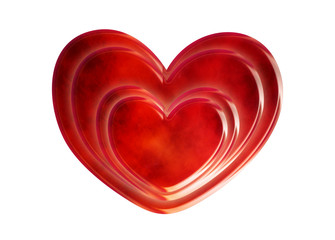 red heart isolate on wite background