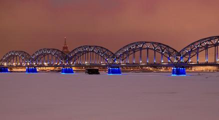 Riga railway bridge at night time